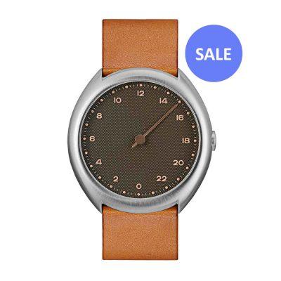 slow O 09 - Swiss 24 hour watch - Silver, Brown - sale