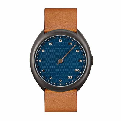 slow O 15 - one handed watch - anthracite case, blue dial
